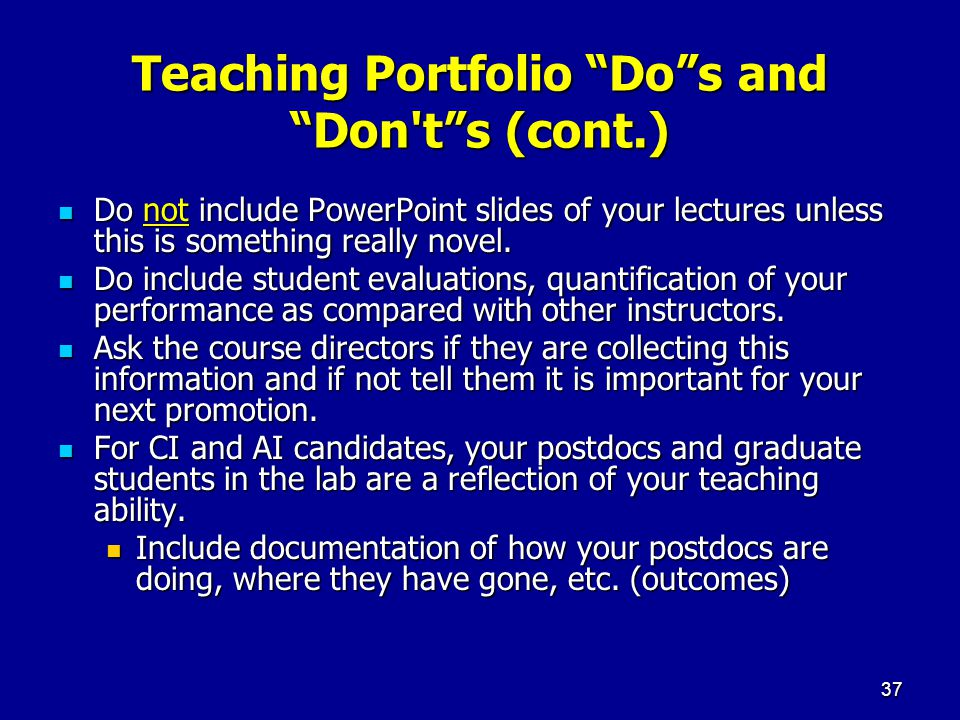 Teaching Portfolio Do s and Don t s (cont.)