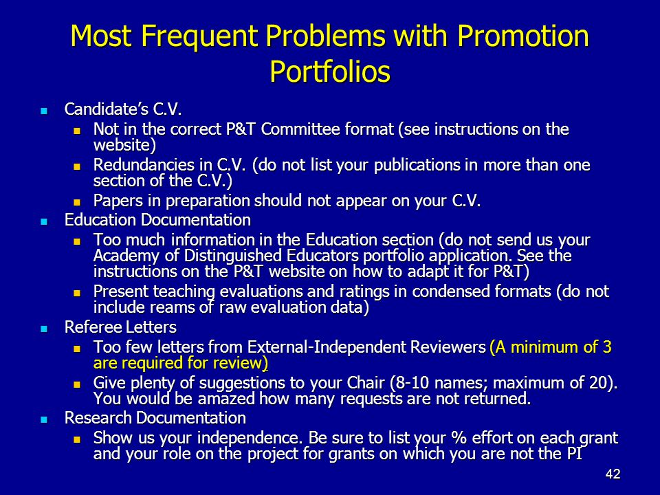 Most Frequent Problems with Promotion Portfolios