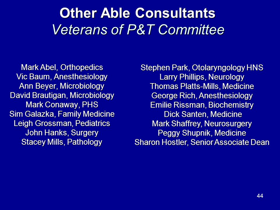 Other Able Consultants Veterans of P&T Committee