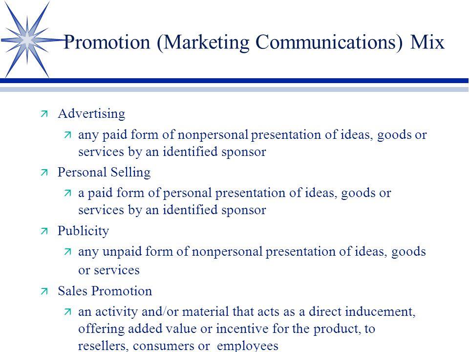 Promotion (Marketing Communications) Mix