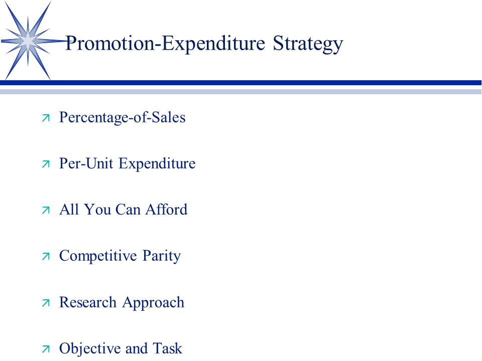Promotion-Expenditure Strategy