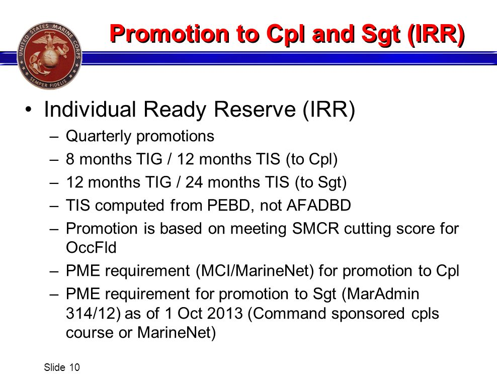 Promotion to Cpl and Sgt (IRR)