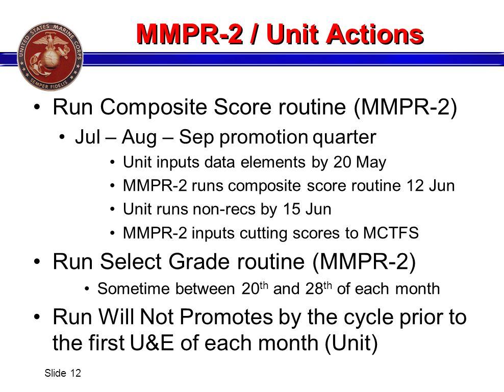 MMPR-2 / Unit Actions Run Composite Score routine (MMPR-2)