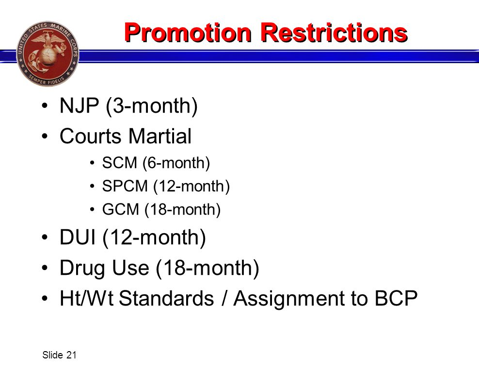 Promotion Restrictions