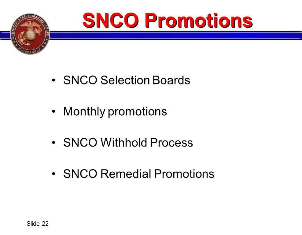 SNCO Promotions SNCO Selection Boards Monthly promotions