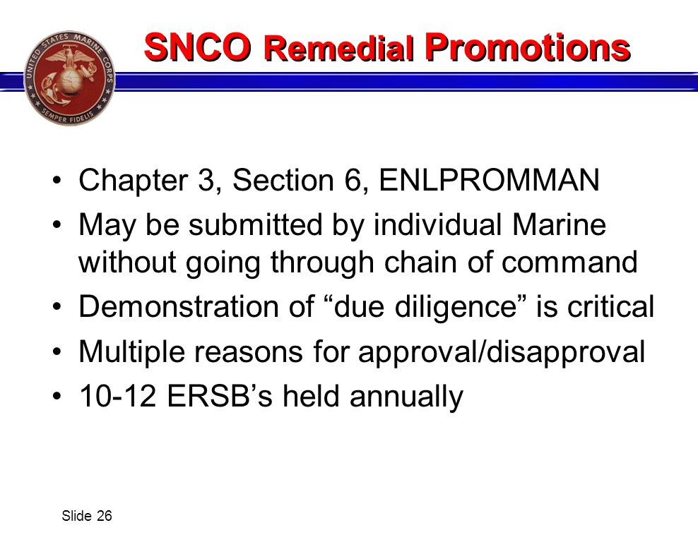 SNCO Remedial Promotions