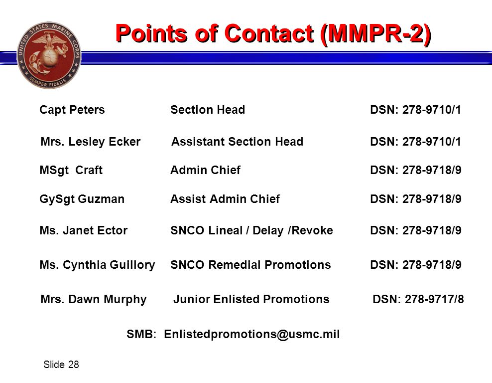 Points of Contact (MMPR-2)