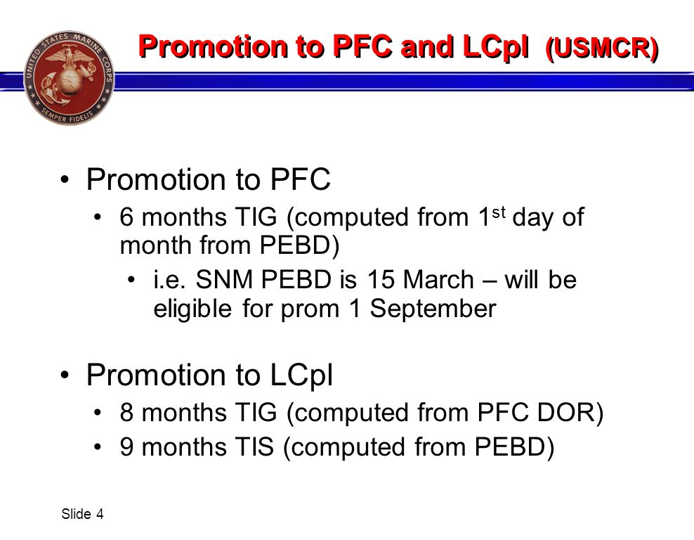 Promotion to PFC and LCpl (USMCR)