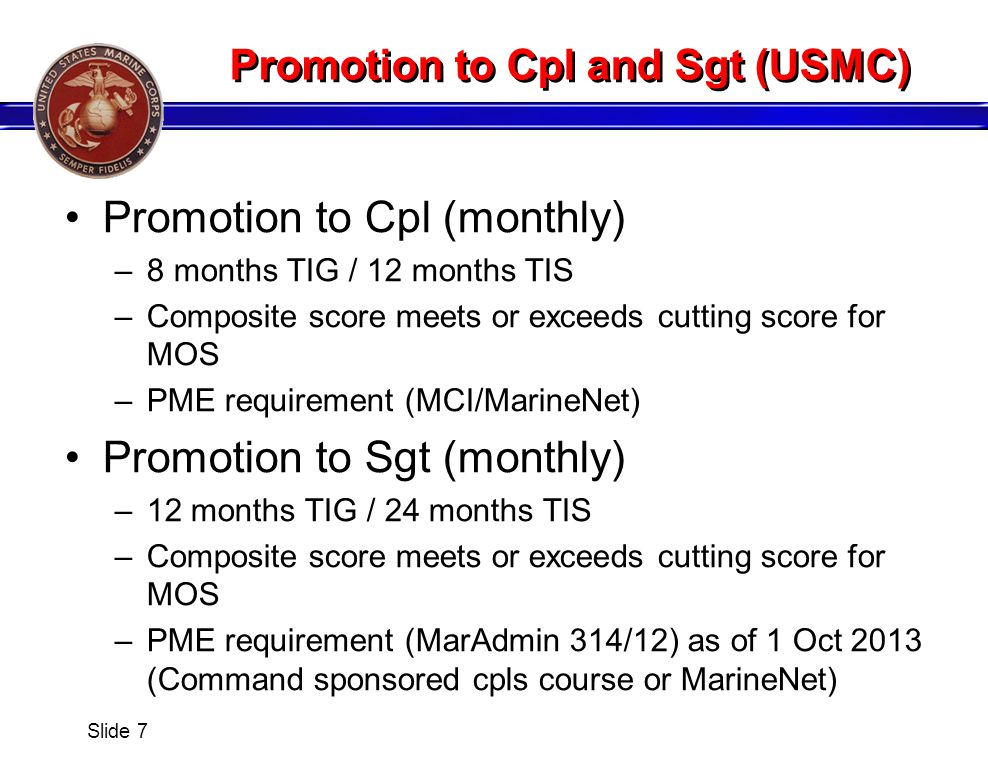 Promotion to Cpl and Sgt (USMC)