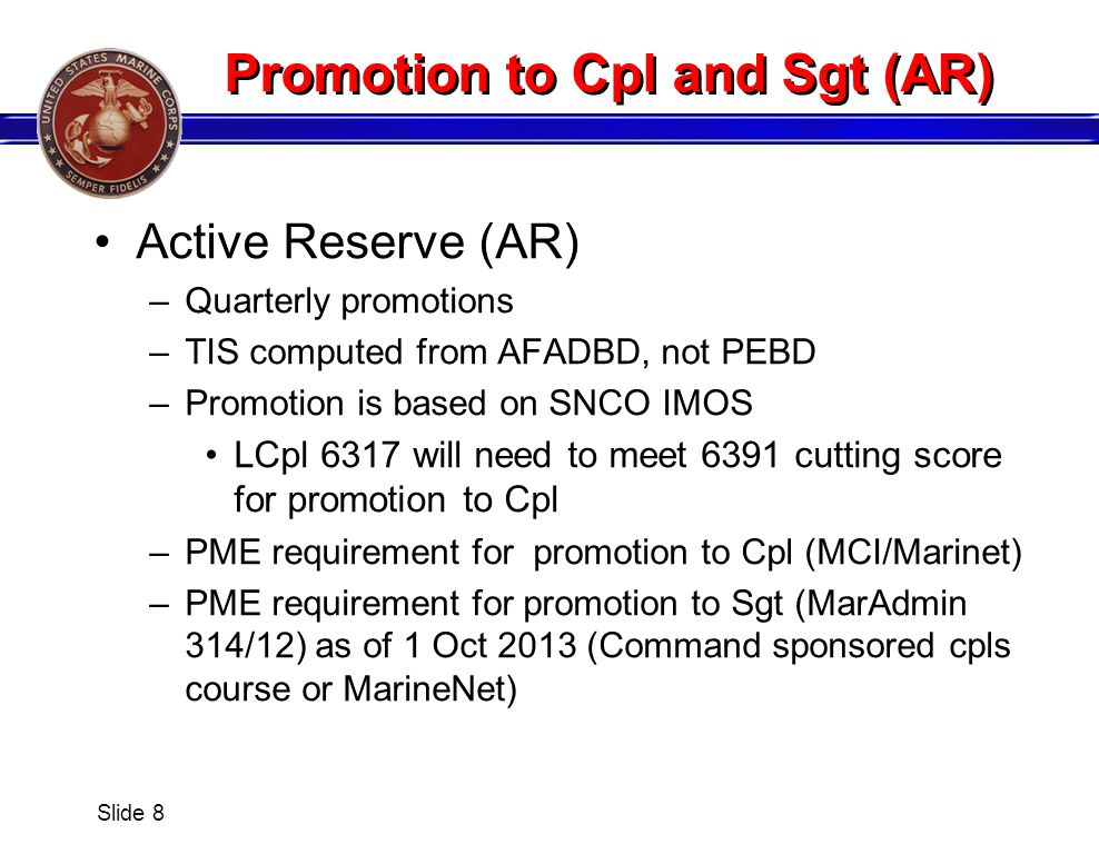 Promotion to Cpl and Sgt (AR)