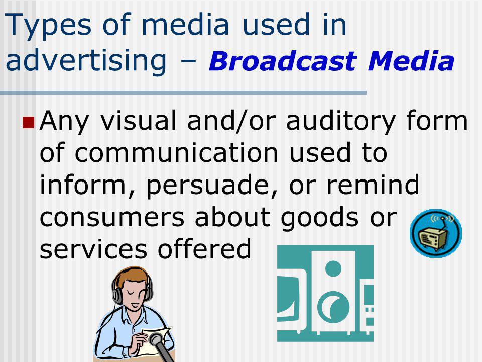 Types of media used in advertising – Broadcast Media