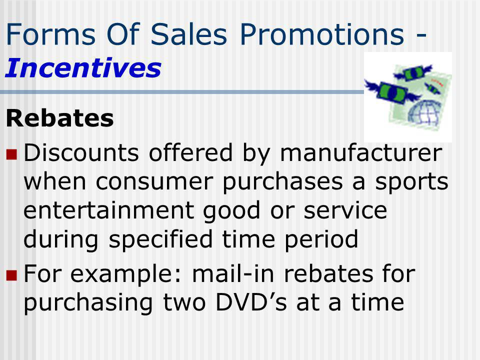 Forms Of Sales Promotions - Incentives