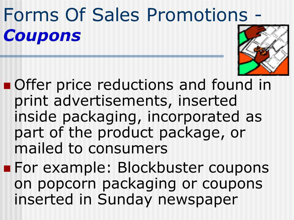 Forms Of Sales Promotions - Coupons