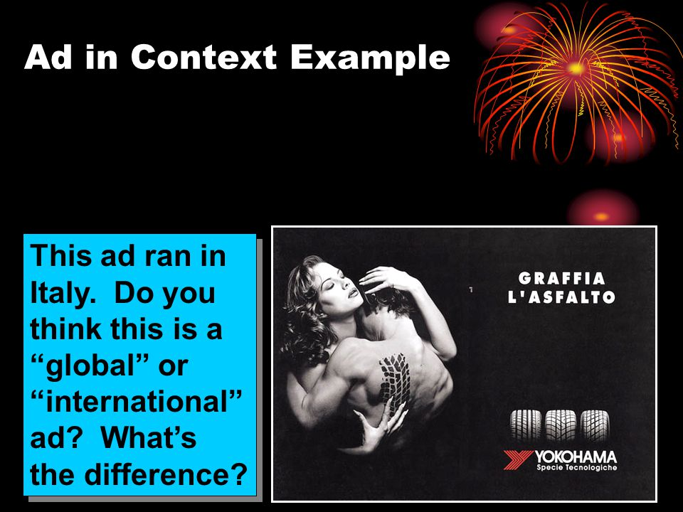 Ad in Context Example This ad ran in Italy. Do you think this is a global or international ad.
