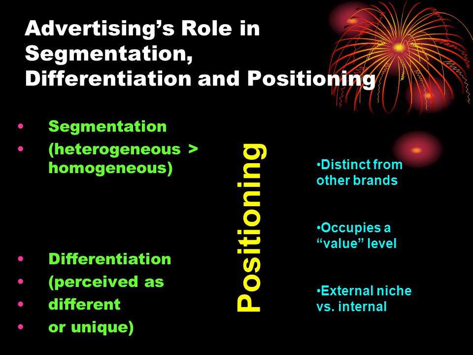 Advertising's Role in Segmentation, Differentiation and Positioning