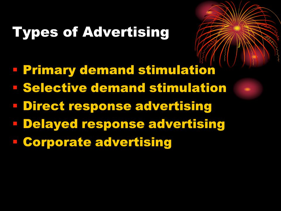 Types of Advertising Primary demand stimulation