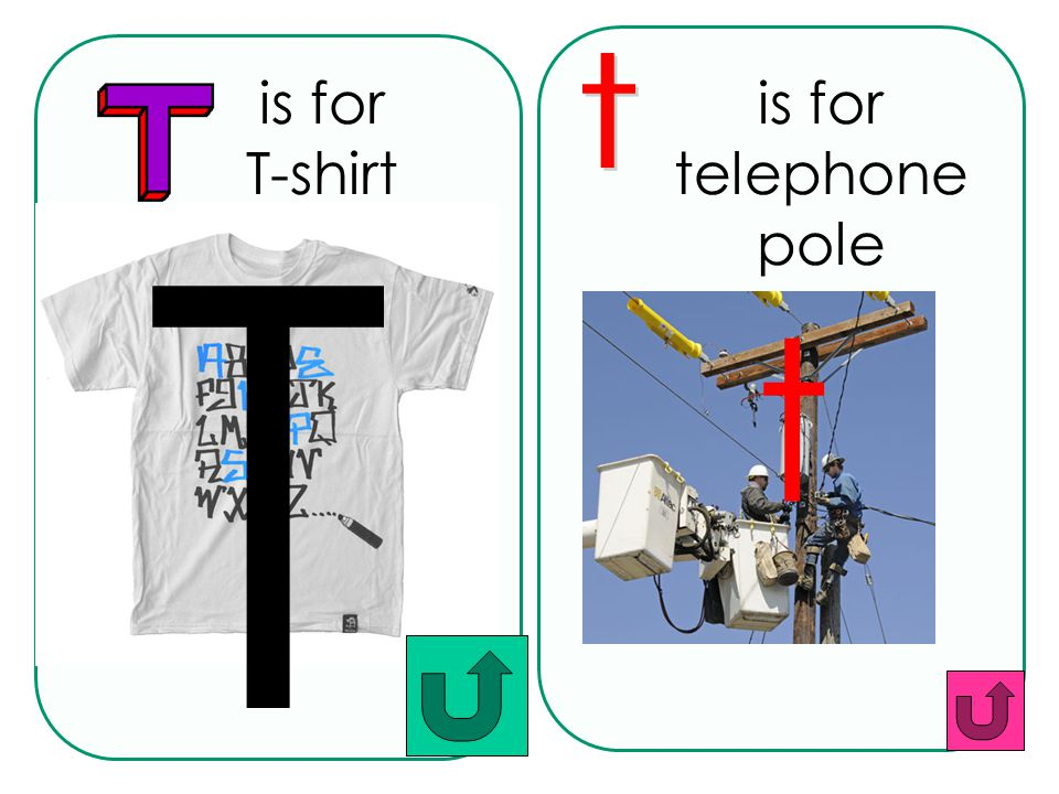 is for T-shirt t is for telephone pole t T