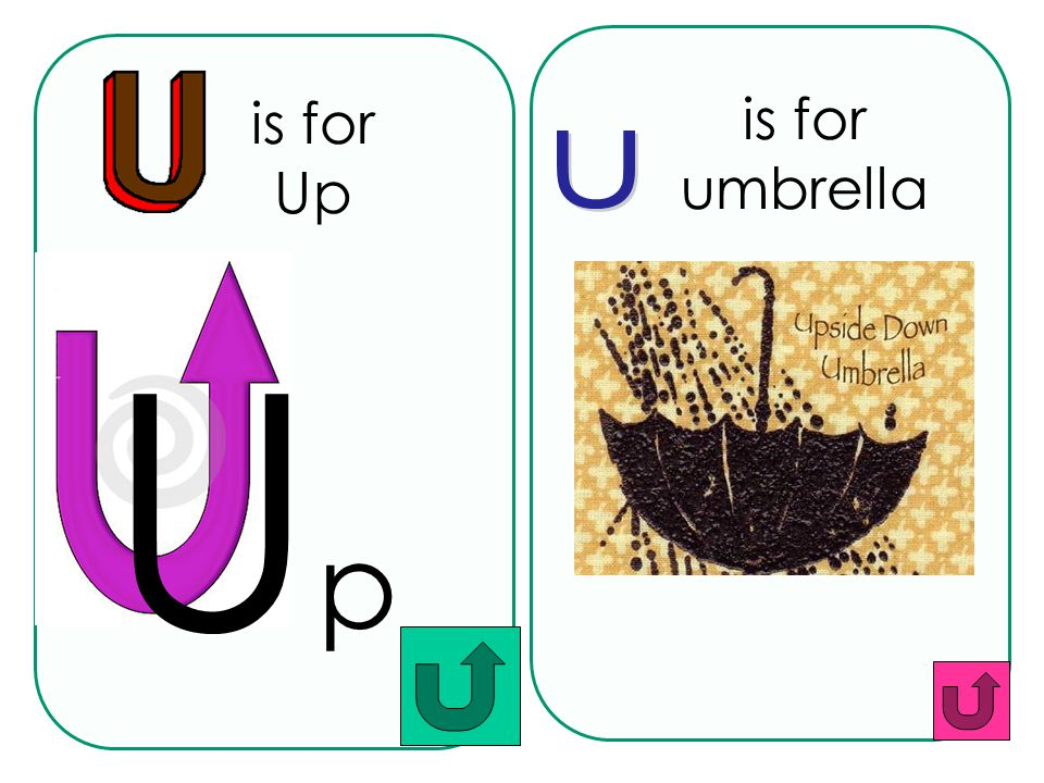 is for Up is for umbrella u Up