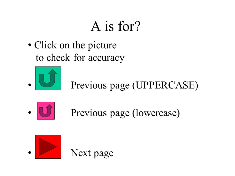 A is for Click on the picture to check for accuracy