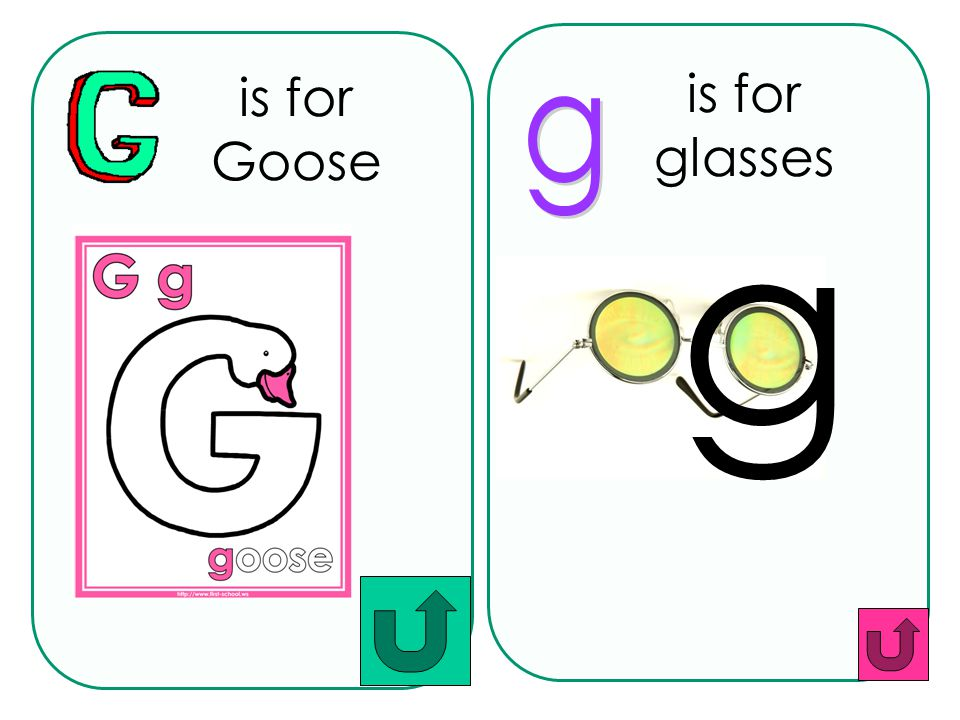 is for Goose is for glasses g g