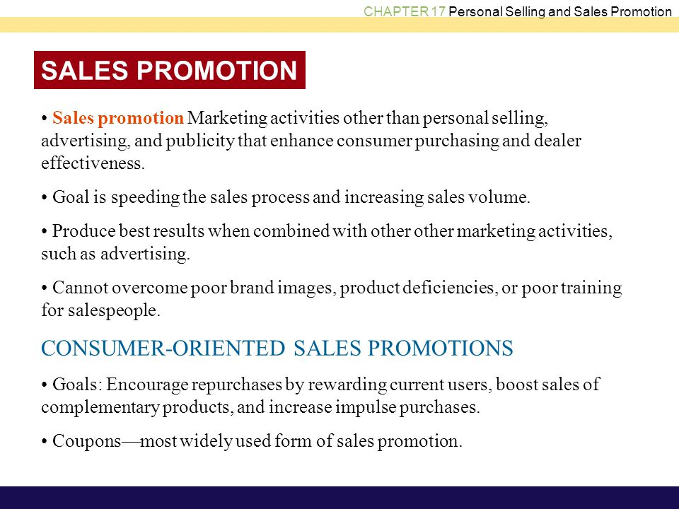 SALES PROMOTION CONSUMER-ORIENTED SALES PROMOTIONS