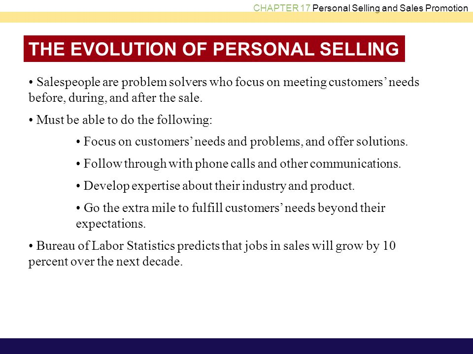 THE EVOLUTION OF PERSONAL SELLING