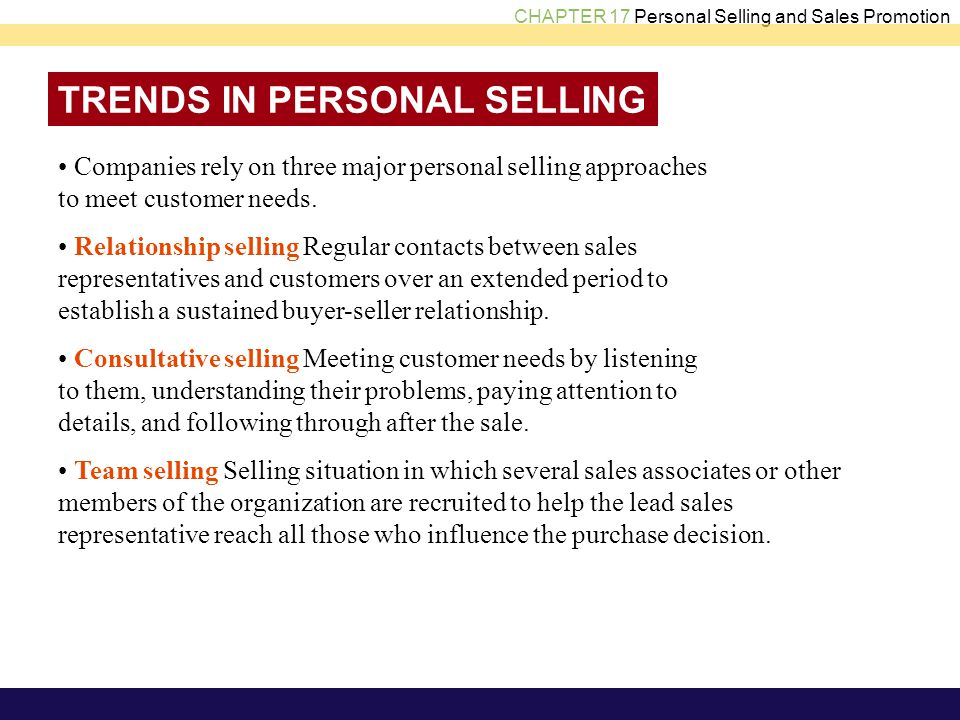 TRENDS IN PERSONAL SELLING