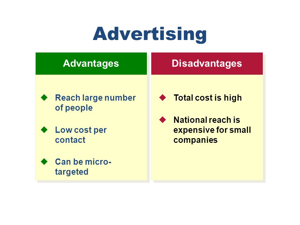 Advertising Advantages Disadvantages Reach large number of people