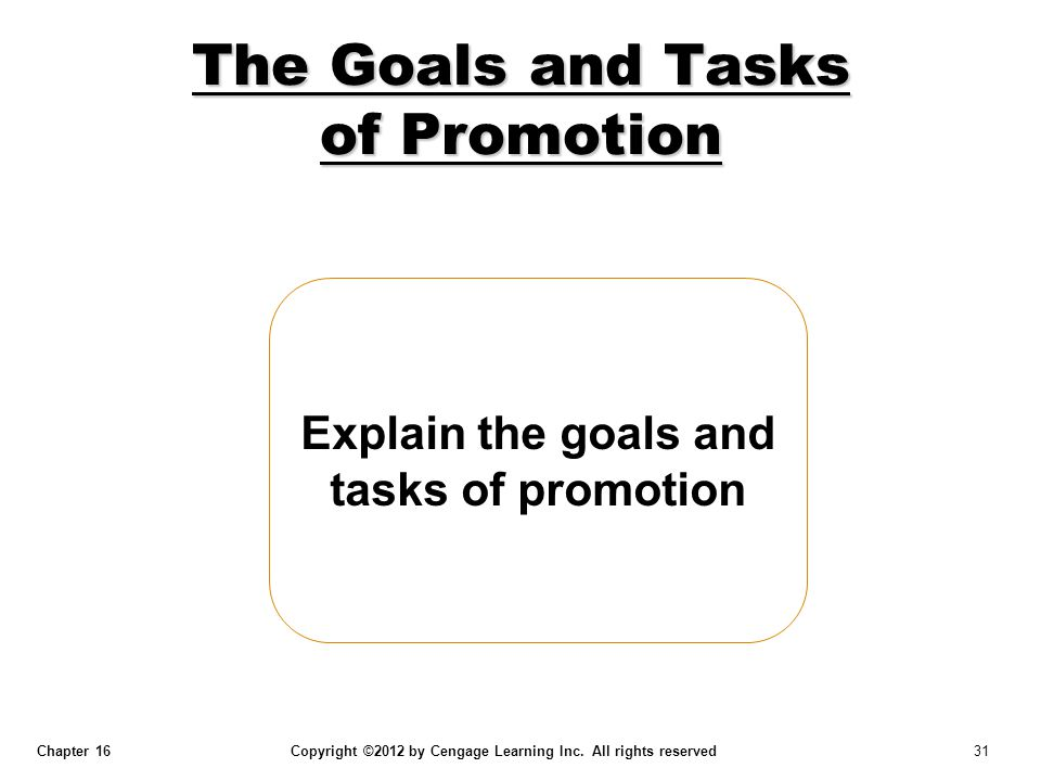 The Goals and Tasks of Promotion