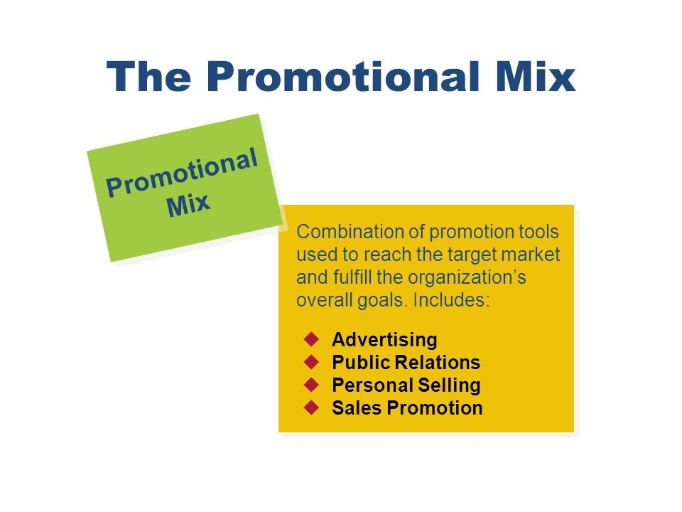The Promotional Mix Promotional Mix