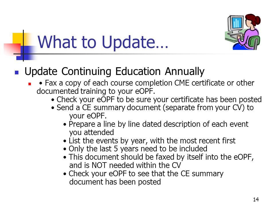 What to Update… Update Continuing Education Annually