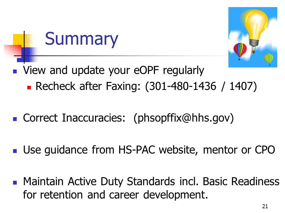 Summary View and update your eOPF regularly