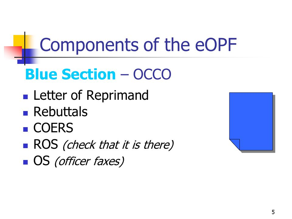 Components of the eOPF Blue Section – OCCO Letter of Reprimand