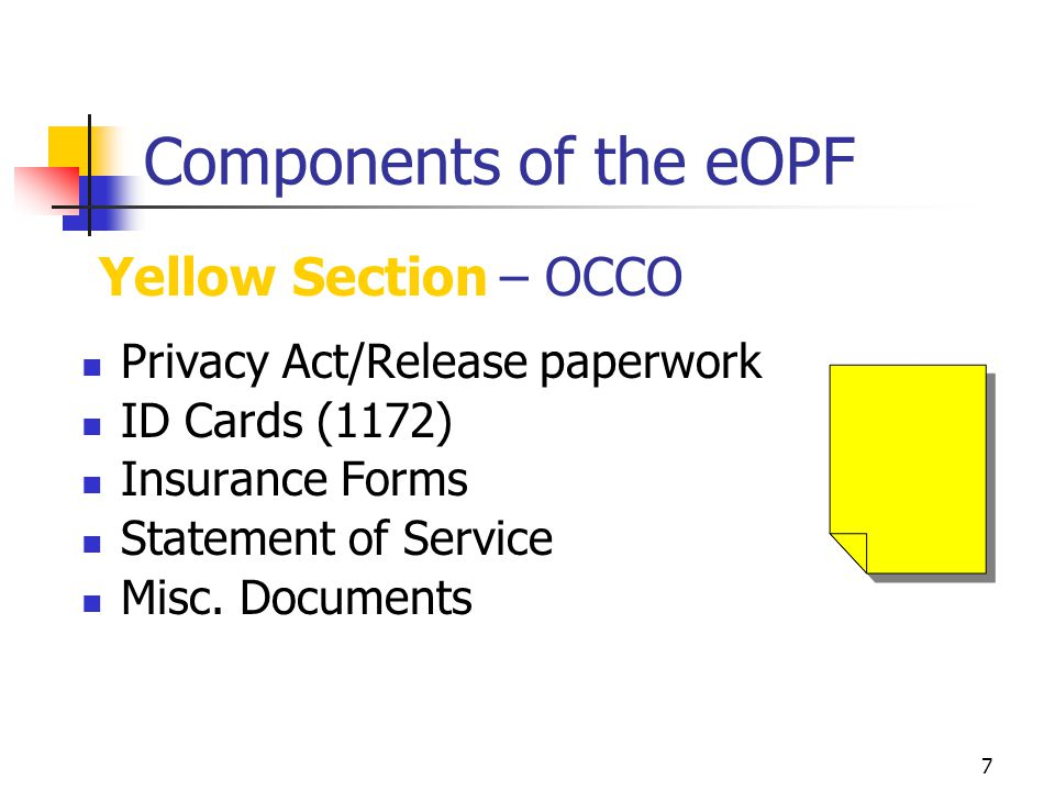 Components of the eOPF Yellow Section – OCCO