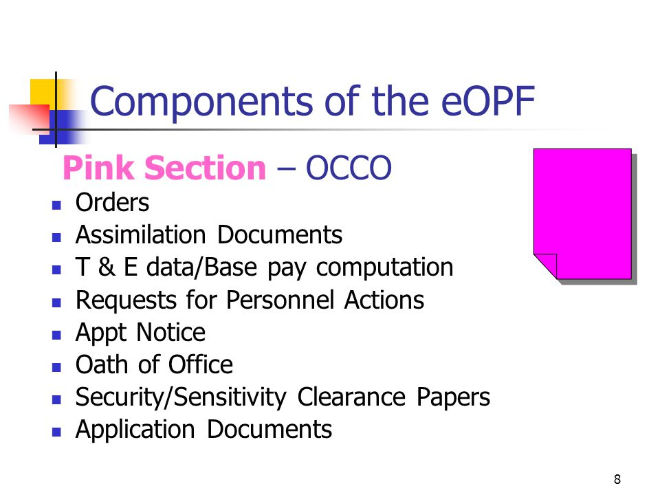 Components of the eOPF Pink Section – OCCO Orders