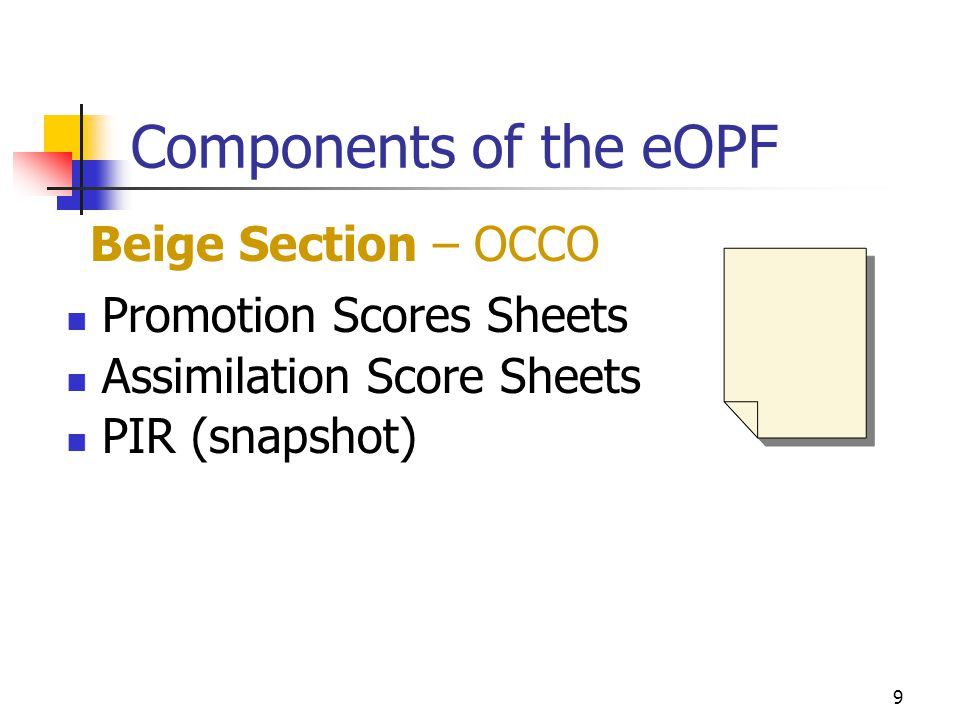 Components of the eOPF Beige Section – OCCO Promotion Scores Sheets