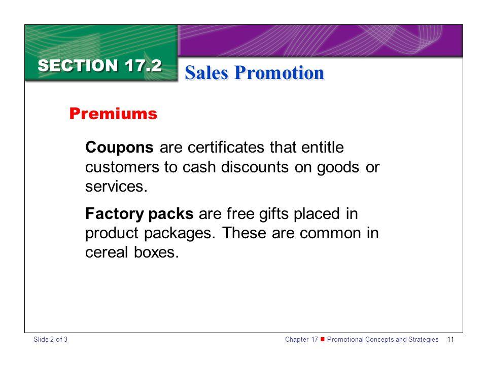 Sales Promotion SECTION 17.2 Premiums
