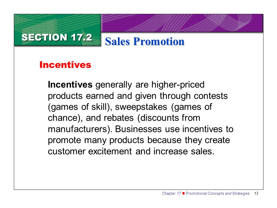 Sales Promotion SECTION 17.2 Incentives