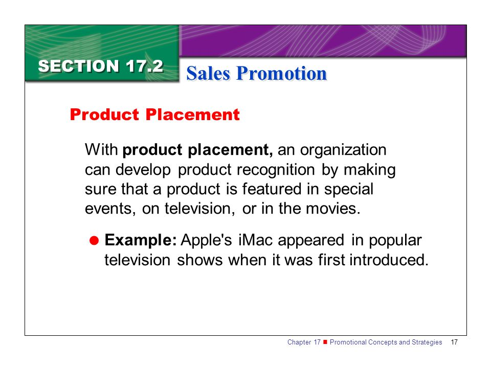 Sales Promotion SECTION 17.2 Product Placement