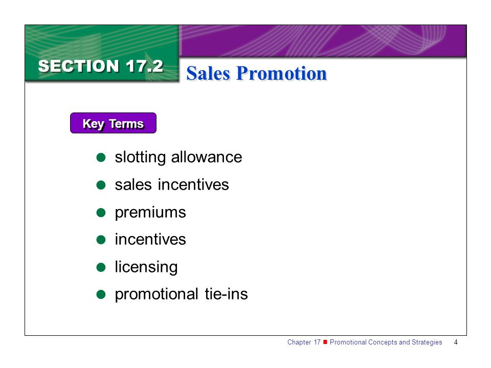 Sales Promotion SECTION 17.2 slotting allowance sales incentives