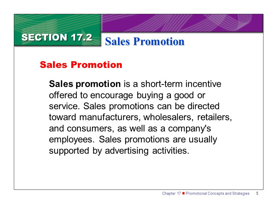 Sales Promotion SECTION 17.2 Sales Promotion