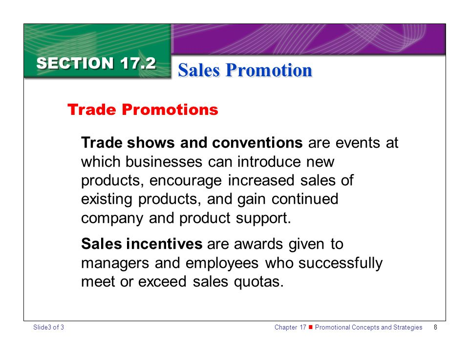 Sales Promotion SECTION 17.2 Trade Promotions