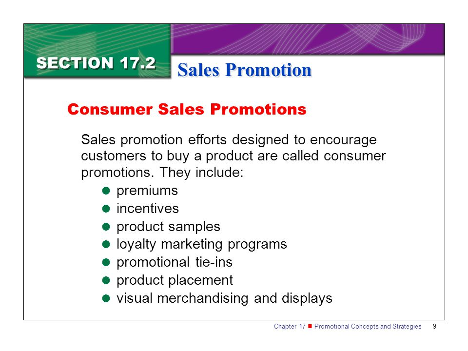 Sales Promotion SECTION 17.2 Consumer Sales Promotions