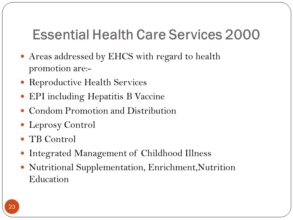 Essential Health Care Services 2000
