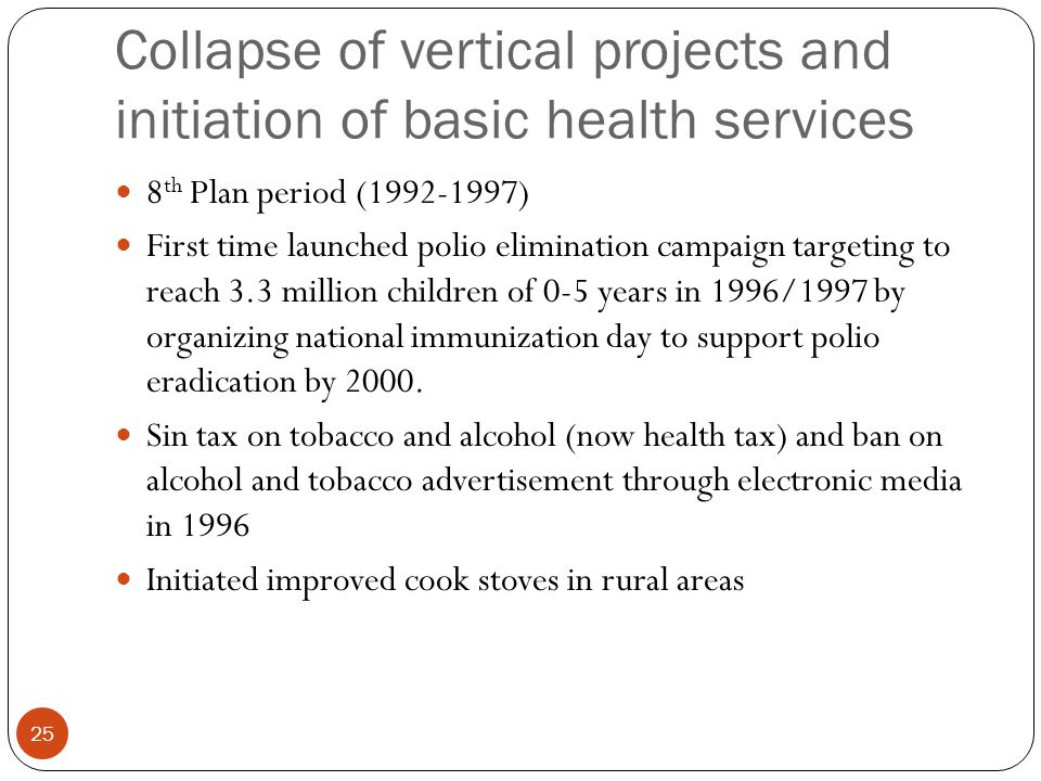 Collapse of vertical projects and initiation of basic health services