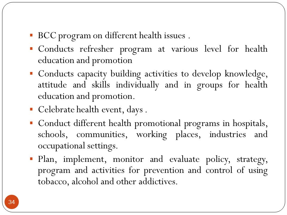 BCC program on different health issues .
