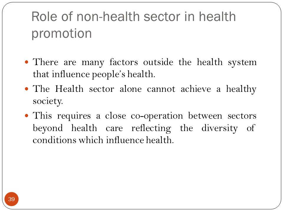 Role of non-health sector in health promotion