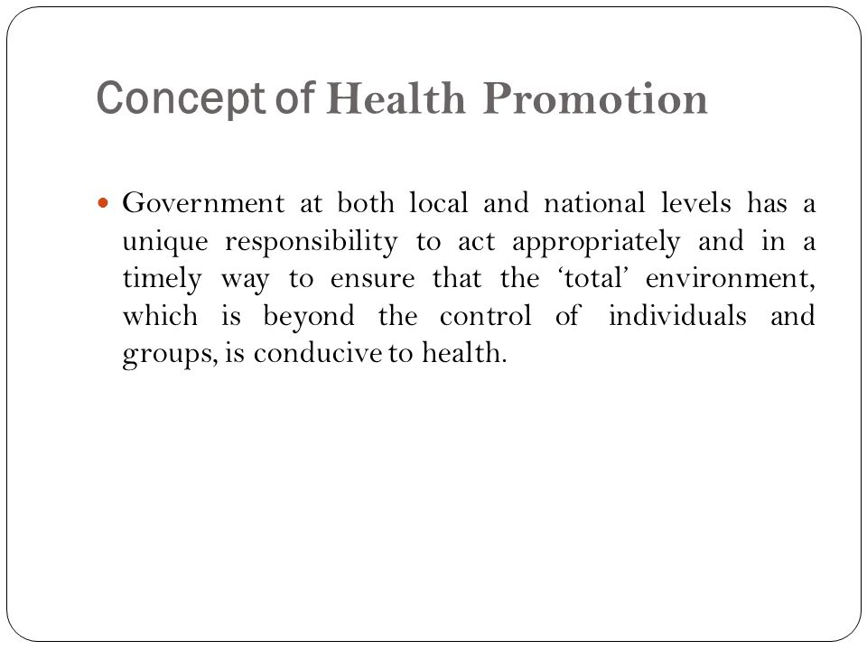 Concept of Health Promotion