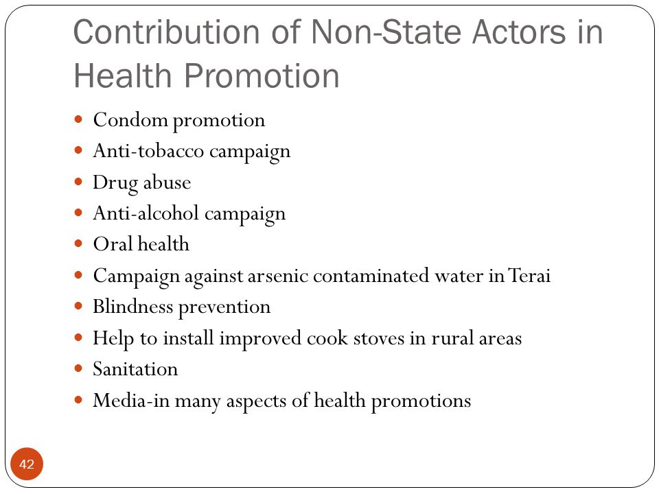 Contribution of Non-State Actors in Health Promotion