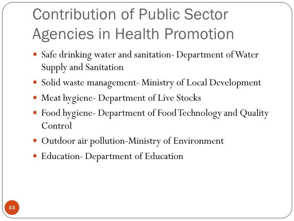 Contribution of Public Sector Agencies in Health Promotion